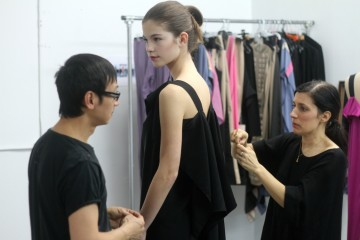 Design duo Danielle Martin and Pao Lim (Martin Lim) prep a model