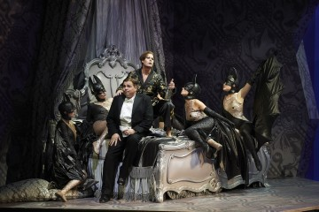 Michael Schade as Gabriel von Eisenstein and Laura Tucker as Prince Orlofsky in the Canadian Opera Company's new production of Die Fledermaus, 2012.