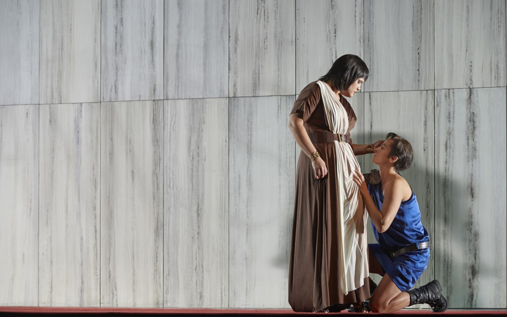 Keri Alkema as Vitellia and Isabel Leonard as Sesto in the Canadian Opera Company's production of La clemenza di Tito, Toronto, Ontario