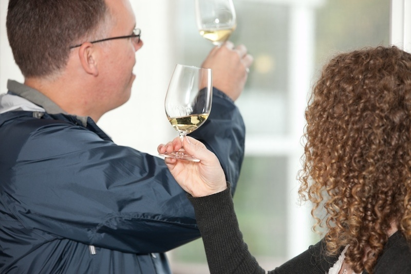 Wine tasting Niagara, man and woman checking white wine for clarity