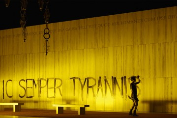 Sic Semper Tyrannis written in paint on wall in The Canadian Opera Company's production of La clemenza di Tito, Toronto, Ontario