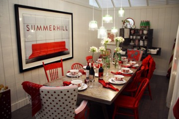 Interior design dining room showroom, red and white