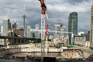 Tower cranes, building development in Toronto, Ontario