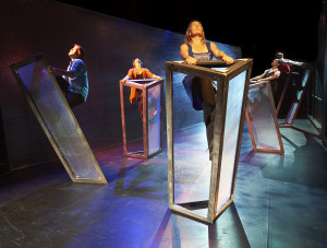 left to right Michael Spence, Michelle Polak, Ciara Adams, Pam Patel, Joel Benson in THE SACRIFICE ZONE Produced by Theatre Gargantua in association with The Uncertainty Principle