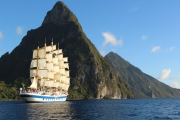 Royal Clipper Cruise liner with mountain in background