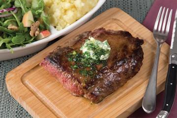 Fresh Canteen Seared, flat-iron steak with wasabi potatoes, parsley, garlic butter and apple salsa