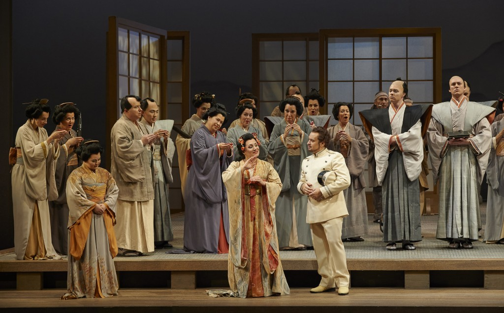 centre) Patricia Racette as Cio-Cio San and Stefano Secco as Pinkerton in a scene from the Canadian Opera Company production of Madama Butterfly, 2014.
