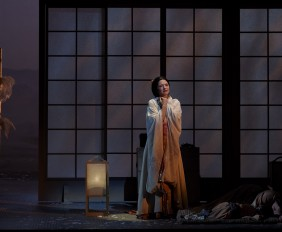 l-r) Kelly Kaduce as Cio-Cio San, Madilyn Miller as Sorrow and Elizabeth DeShong as Suzuki in the Canadian Opera Company production of Madama Butterfly, 2014. Photo: Michael Cooper l-r) Kelly Kaduce as Cio-Cio San, Madilyn Miller as Sorrow and Elizabeth DeShong as Suzuki in the Canadian Opera Company production of Madama Butterfly, 2014. Photo: Michael Cooper