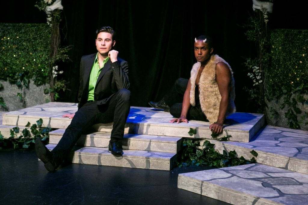 Sean Hudock and Nathan C. Crocker share a scene in Titans a Midsummer Night's Dream at Queens Theatre