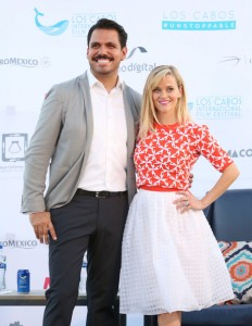 Festival Director Alonso Aguilar-Castillo with Reese Witherspoon Los Cabos International Film Festival 2014.