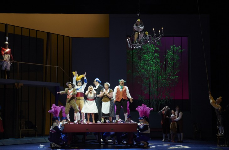 A scene from the Canadian Opera Company production of The Barber of Seville, 2015. Conductor Rory Macdonald, director Joan Font, set and costume designer Joan Guillén, choreographer Xevi Dorca and lighting designer Albert Faura. Photo: Michael Cooper. Michael Cooper Photographic