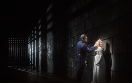 John Relyea as Duke Bluebeard and Ekaterina Gubanova as Judith in the Canadian Opera Company production of Bluebeard's Castle, 2015. Conductor Johannes Debus, director Robert Lepage, revival director François Racine, set and costume designer Michael Levine, and lighting designer Robert Thomson. Photo: Michael Cooper Michael Cooper Photographic