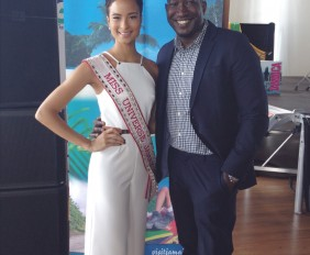 Toronto Pan Am Games. Jamaica House. Jermaine Bailey and Miss Universe Jamaica, Kaci Fennell