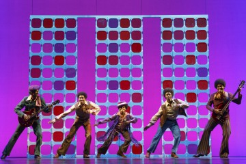 Reed L Shannon as Michael Jackson (center) with the Jackson 5 MoTOWN THE MUSICAL First National Tour (c) Joan Marcus, 2014