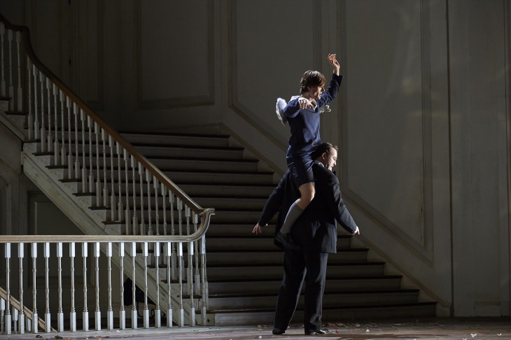 3164 - Russell Braun as the Count and and Uli Kirsch as Cherubim (top) in the Canadian Opera Company's production of The Marriage of Figaro, 2016. Conductor Johannes Debus, director Claus Guth, set and costume designer Christian Schmidt, lighting designer Olaf Winter, video designer Andi A. Müller, and choreographer Ramses Sigl. Photo: Michael Cooper
