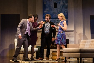 Raoul Bhaneja, Karen Glave, Michael Rubenfeld and Birgitte Solem in DISGRACED. Photo Credit: Cylla von Tiedemann