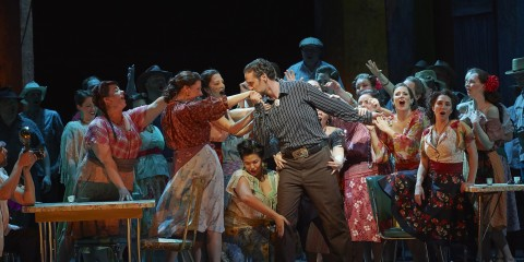 Christian Van Horn as Escamillo (centre) and Sasha Djihanian as Frasquita (right, at table) in the Canadian Opera Company production of Carmen, 2016, photo: Michael Cooper