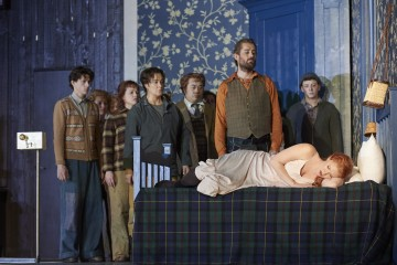 Jane Archibald as Ginevra (on bed) with Alice Coote as Ariodante and Johannes Weisser as the King of Scotland (in front row) in the Canadian Opera Company's production of Ariodante, 2016, photo: Michael Cooper