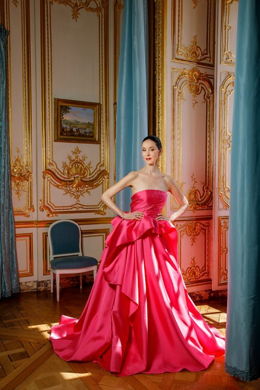 Opera Atelier, Jeannette Lajeunesse Zingg in Reem Acra, Private Rooms of Marie Antoinette, Palace of Versailles. TheSceneinTO.com Photo: Bruce Zinger