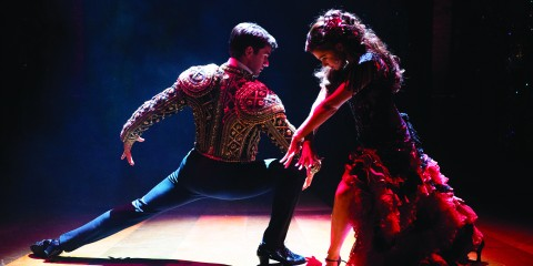 'Strictly Ballroom' Touring Production. Sam Lips (Scott) and Gemma Sutton (Fran) in 2016 UK Production of Strictly Ballroom - Photo Credit: Alastair Muir.