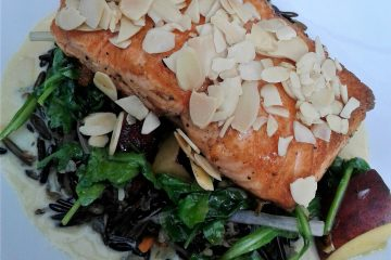 Azure Restaurant and Bar. Maple Almond Crusted Salmon.
