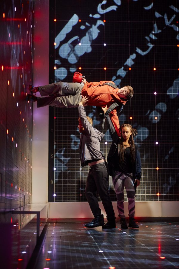 Joshua Jenkins (Christopher Boone), Matt Wilman (Mr Thompson) and Crystal Condie (Punk Girl). Curious Incident International Tour. Photo: Brinkhoff/Mögenburg